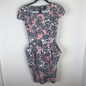 Asos Women Sz 0 Pink Black White Floral Tube Dress